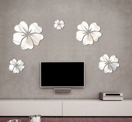 New Fashion 5pcs Flower Mirror Wall Art Mural Decal Sticker DIY Home Decoration Hibiscus Decal Mirror Wall Decor