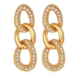 Wholesale New Austrian Rhinestone K Real Gold Plated Twisted Figaro Earrings Fashion Jewelry Quality Gift For Women MGC E1260