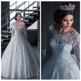 Wholesale Long Sleeve Empire Lace Appliques A Line Wedding Dresses Beading Sequined Chapel Bridal Gowns Empire Bridal Dress New Fashion Online