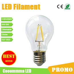 Wholesale Promo LED Filament Globe Light High Brightness Chip Classic Edison Bulb B22 E27 W W Dimmable Bulb Alternative