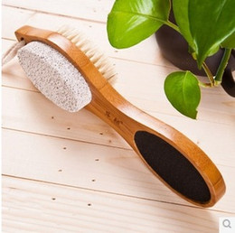 Wholesale-Bamboo Four Foot Foot stone treasure rub feet feet exfoliating brush clean except the stubborn calluses