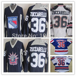 Best New York Hockey Jerseys Rangers #36 Mats Zuccarello Jersey Home Blue Road White Zuccarello Stitched Stadium Sports Jerseys