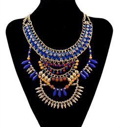 European style gold plated handmade braid rhinestone chunky chain blue brown beads rivet tassel charms bib statement necklace