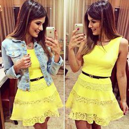 New Fashion Women Summer Chiffon Lace Dress Sexy Mini Dress Casual Yellow a-Line Sleeveless Slim Dress Vestidos Femininos B20