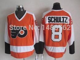 Free Shipping Philadelphia 8 Dave Schultz CCM Vintage Orange Hockey Jersey Mixed Order