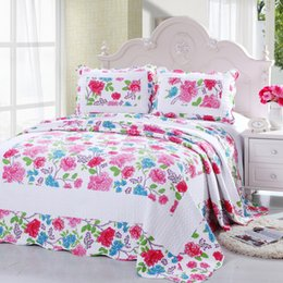 Wholesale-Cotton Summer Blanket Quilted Counterpane Floral Patchwork Quilt Bed Sheet Set by 2PC Pillowcase Adult Bed Quilt Cover Bedspread