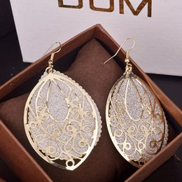 Wholesale Luxury Vintage Leaf Dangle Earrings Hollow Out K Gold Filled Party Wedding Jewelry Women in Bulk Christmas Gift