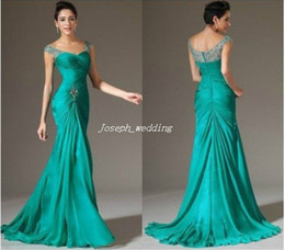 Wholesale long green chiffon bridesmaid dress hot elegant women gowns wedding party affordable dress cap sleeves BD246