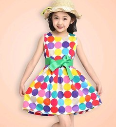 Wholesale Fashion girls Dress kids Dresses summer baby dress Ball Gown dress tutu Rainbow dot doll skirt size