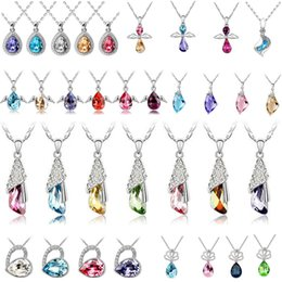 Wholesale Sterling Silver Leather Jewelry Wholesale - Fashion jewelry High quality Austrian crystal CZ Diamonds pendant necklace women jewelry 30pcs Optional style Free shipping