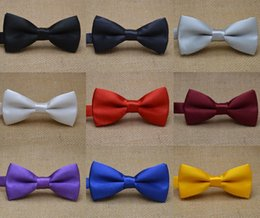 Fashion candy color dress folded Children Bow tie business Bow tie hotel waiter gentleman Ties solid colorChildren bow tie