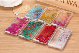 Wholesale Glitter Star Running Quicksand Liquid Dynamic clear Hard Case For iPhone s SE c plus plus samsung galaxy s5 s6 s7 edge note