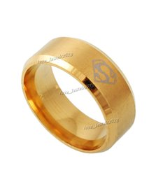 Rings 20pcs Gold Super Man Ring Wholesale lots jewelry Stainless Steel SZ6 to 12 Comics Brush Valentine
