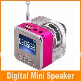 Wholesale New Arrival Mini Speaker Colors Digital Portable Music MP3 Player Micro SD TF USB Disk Speaker FM Radio LCD Display Free DHL OM CB5