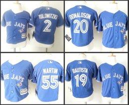 Wholesale Cheap Jay S - Cheap Authentic toronto blue jays jersey Baby 19 Jose Bautista 20 Josh Donaldson 55 Martin Cool Base toddler Jersey stitched S-L