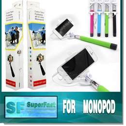 Wholesale Selfie Monopod Foldable Selfie Stick With Groove Cable Take Pole the Self Timer Kit Extendable Monopod Handheld Z07 SF With Retail Box