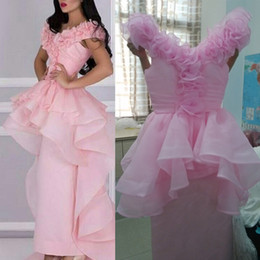 Pink Organza Prom Dresses 2015 with Cap Sleeves V Neck Ruched and Handmade Flowers Sheath Skirt with Ruffled Peplum and Train