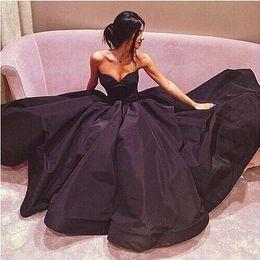 Fashion Evening Dresses 2016 Sweetheart Ruched Black Taffeta Prom Dress Formal Sweep Train Party Dress Custom made