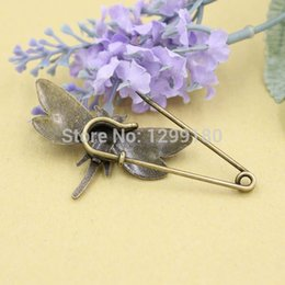 Wholesale in spot lighting wedding Alloy Antique Bronze Vintage Animal Brooch Safety Pins For Garment Accessories Scarf Clip pins Length