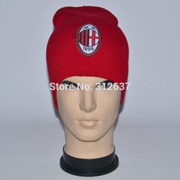 Wholesale team can mixed ac milan football Yellow and red hats for men and women knitted hat Italy soccer gifts beanies cap
