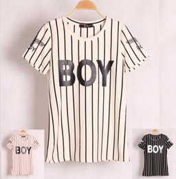 FG1509 New 2015 Women's T Shirt BOY Letter Printed Brand T-shirt Short Sleeve Striped Top Casual Cotton Tops Women Blusas Vestidos Tees