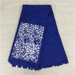 Hot sale royal blue flower african water soluble lace embroidery french guipure lace fabric for party dress BW44-7,5yards pc