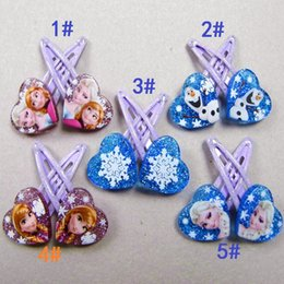 Wholesale Frozen Clips Fashions Baby Girls Elsa Anna Heart Barrettes Hair Clips Kids BB Clip Hairpin Children Christmas Gifts Hair Accessories