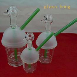 Acheter en ligne Ongles en verre pour l'huile-Livraison gratuite Sandblasted Starbuck Cup Original opaque vert brillant dab concentré plate-forme pétrolière verre bong verre dôme et nails narguilé