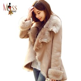 Wholesale Short Leather Jackets For Ladies - Wholesale-2015 new fashion autumn winter women's casual street faux fur coat camel short warm leather jacket for lady