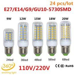 24pcs / lot DHL GU10 / E27 / E14 / G9 110V / 220V 9W 12W 15W 18W 20W SMD 5730 LED lampe CE et ROHS Lustre ultra lumineux de lumière de bulbe de maïs de LED à partir de e27 ce smd fournisseurs
