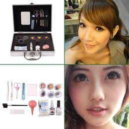 Professional False Extension Eyelash Glue Brush Kit with Case Box Salon Tool Brand New