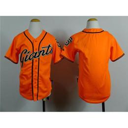 Uniformes económicas para los niños en Línea-Gigantes Orange jerseys de béisbol para niños 2015 nuevo de la manera baja fresca de béisbol juvenil auténtico viste uniformes de béisbol Niños barato envío rápido