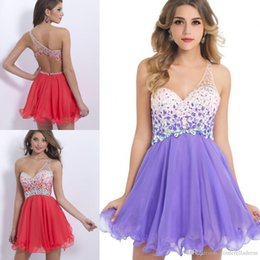 Wholesale 2016 One Shoulder Cheap In Stock Homecoming Dresses Chiffon Backless Crystal Beaded Sexy Cocktail Dresses Short Prom Dresses CPS093