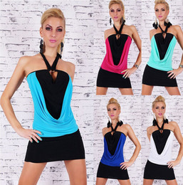Wholesale 5 Color Size Summer New Fashion Sexy Halter Splicing Tape Bandage Bandage Dress Women Slim T1320