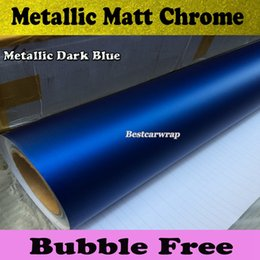 Satin Chrome Blue Car Wrap Film with Air Release Matte chrome blue For Vehicle Wrap styling Car stickers size1.52x20m Roll(5ftx66ft