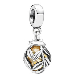 925 Sterling Silver Golden Laurel Leaves Dangle Pendant Bead Fits Pandora Style Jewelry Charm Bracelets & Necklaces