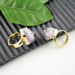 Wholesale Druzy Rings Amethyst Crystal Drusy Ring Jewelry making kt Gold Plated Edge