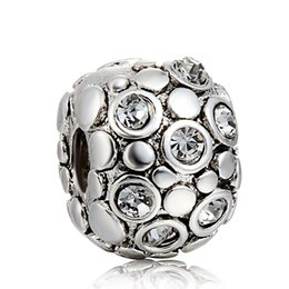 925 sterling silver charm with crystal button clip European silver bead bracelet DIY fashion jewelry