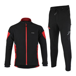 ARSUXEO Thermal Cycling Jersey Jacket Winter Warm Up Bicycle Sets Clothing Windproof Waterproof Soft shell Coat MTB Bike Pant
