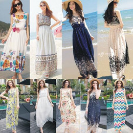 Wholesale Summer Style Floral Print Maxi Dresses Women Beach Club Casual Loose Chiffon Sleeveless O Neck Long Elegant bohemian dress
