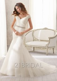 Wholesale W49 Organza V Neck Fish Tail Fashionable Romantic Plus Size Custom Made Mermaid Wedding Dress Gowns Vestido De Noiva