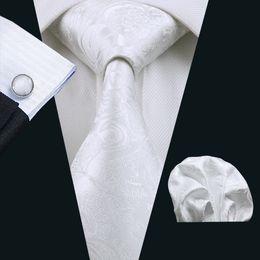 Stylish White Ties Set Fancy Pattern Pocket Square Cufflinks Jacquard Woven Business Formal Work Meeting Neck Tie Set N-0393
