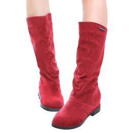 Botas de cuña mujeres morenas en venta-Nueva mujeres de la llegada de la nieve Botas de mitad de la pantorrilla gamuza sintética de la Ronda del dedo del pie Botas encubierta Zapatos de cuña del talón de invierno las mujeres rojas / Negro / Marrón