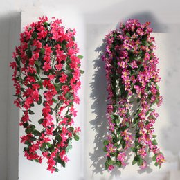 Silk Malan Flower Wall Hanging Rattans 80cm Long Artificial Flower Simulation Single Malan Flower for Home Party Wall Decoration Flowers