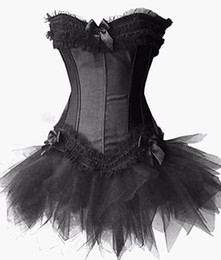 2015 New Sexy Satin Lingerie Lace Corset Top + G-string + Skirt Bustier Mini Tutu Wedding Dress Costume 3 Color 5 Sizes S-2XL