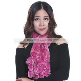 New Rabbit Fur Scarf For Women Fashion Knitted Rex Rabbit Fur Scarves Winter Fur Neckerchief Graple Wrap Cape Shawl neckerchief for women