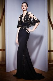 Wholesale Gorgeous Black Lace and Jersey Mermaid Evening Dresses Zuhair Murad Pluning V Neck Bat Sleeve Long Red Carpet Gowns BO9795