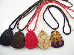 Wholesale WOOD Necklace GOOD Sphinx Europe and America Hip Hop Necklace Pharaoh Beaded Rosary Jewelry Colors