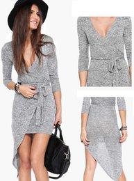 2015 new women grey dress long sleeve asymmetrical dress sexy night party mini dress free shipping