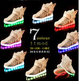 Wholesale 2016 wings USB charging children s shoes LED luminous male shoes colorful flashes baby spring casual shoes pair A1